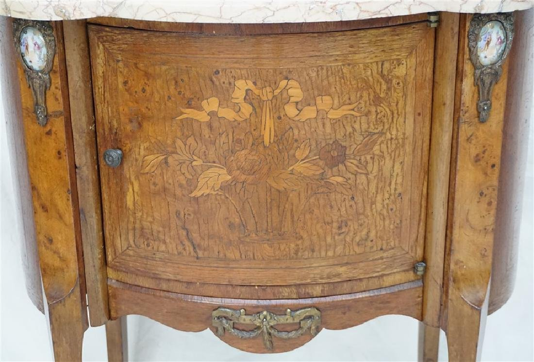 FRENCH INLAID MARBLE TOP SIDE TABLE - 2