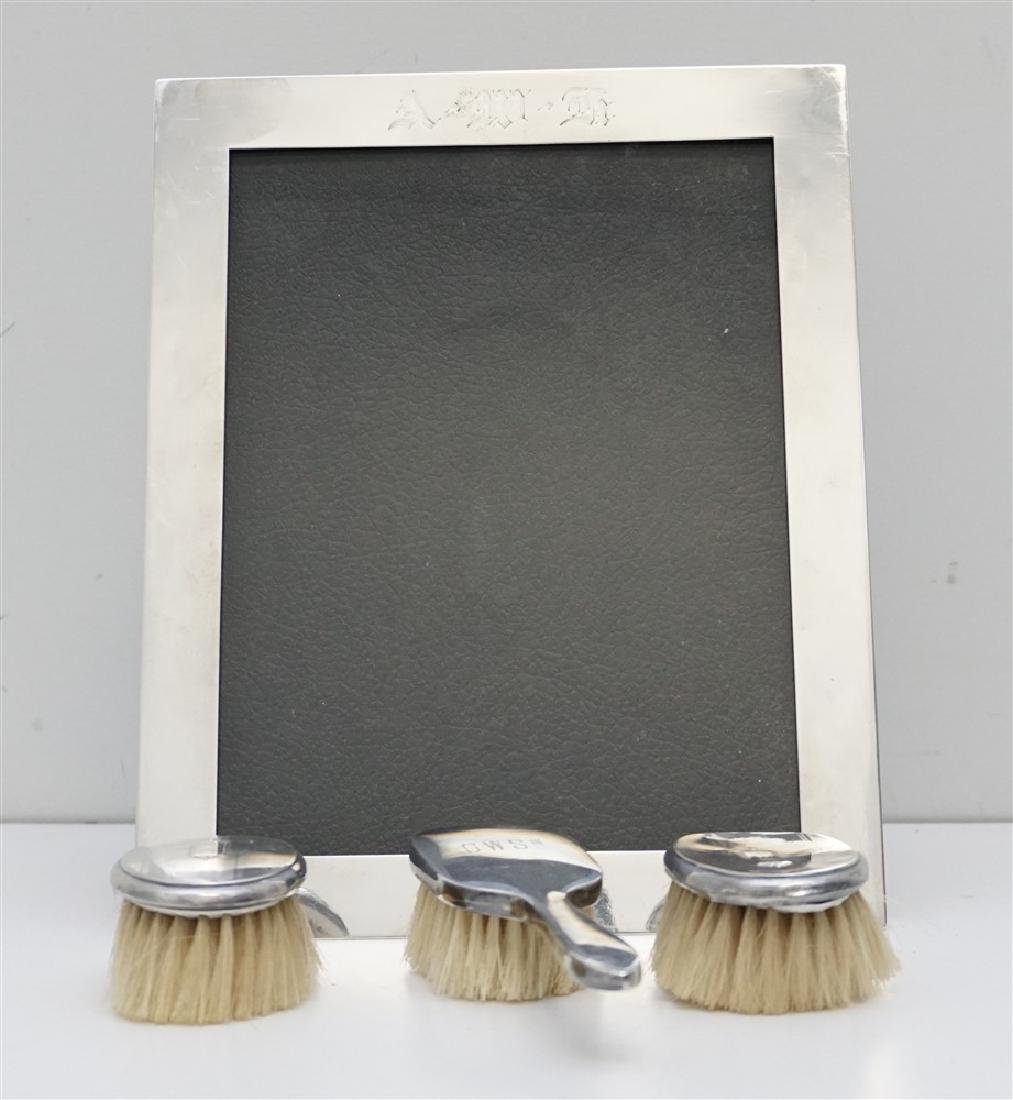 4 pc STERLING FRAME & BABY BRUSHES