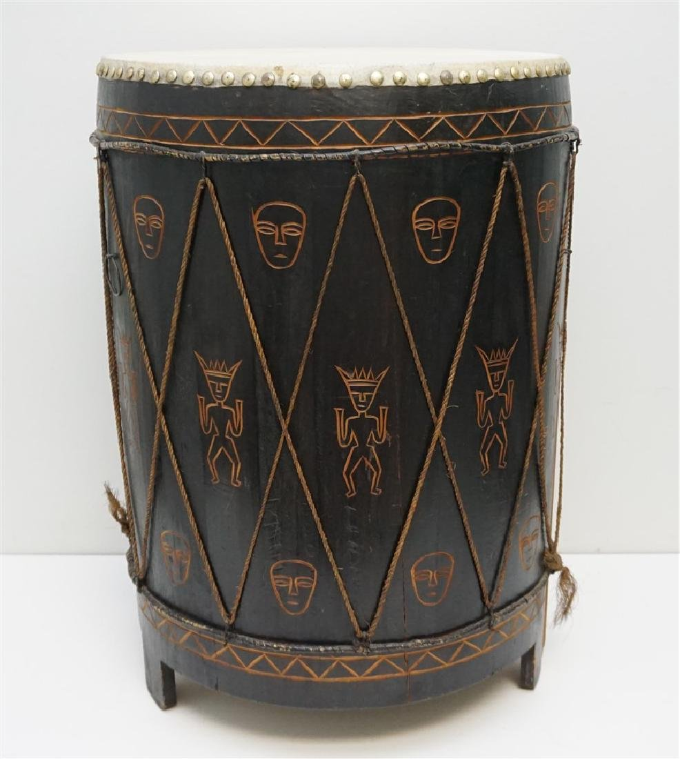 CARVED MID CENTURY AFRICAN DRUM
