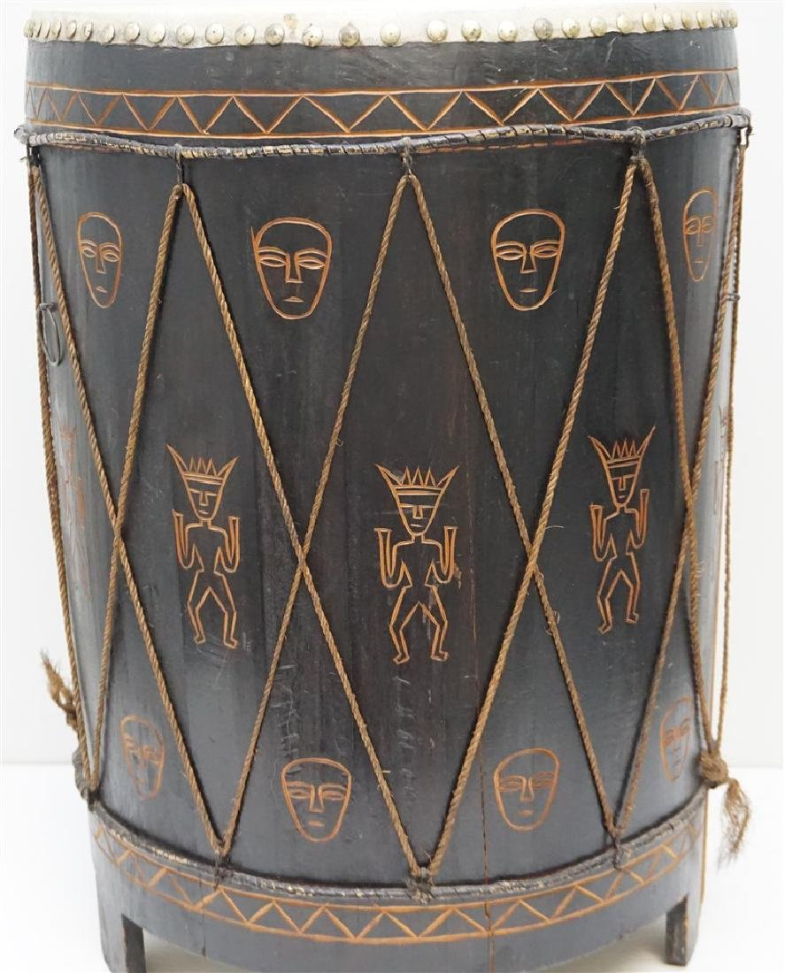 CARVED MID CENTURY AFRICAN DRUM - 2