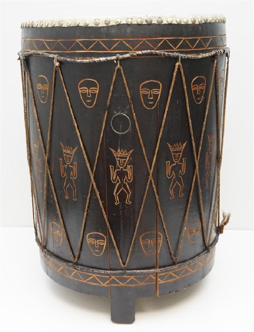 CARVED MID CENTURY AFRICAN DRUM - 4