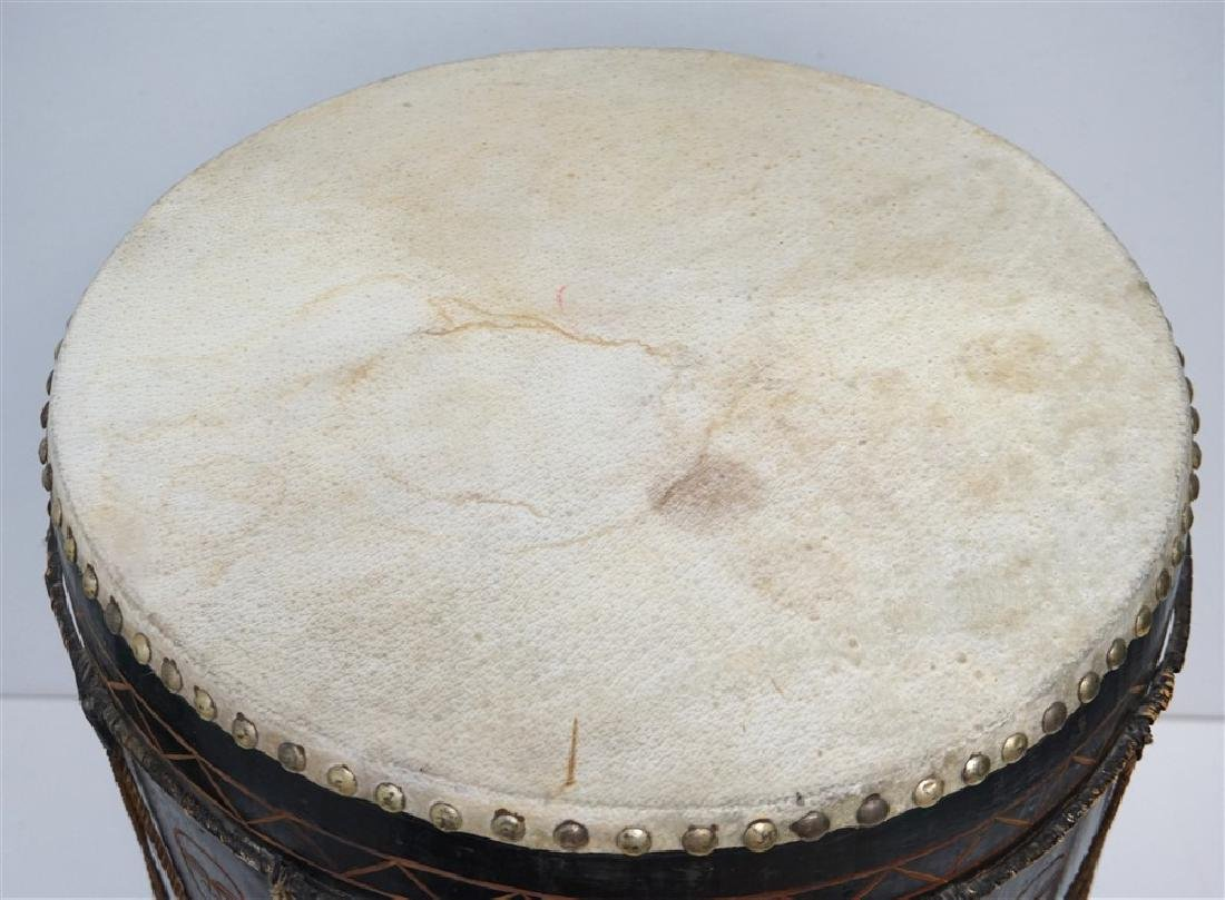 CARVED MID CENTURY AFRICAN DRUM - 6