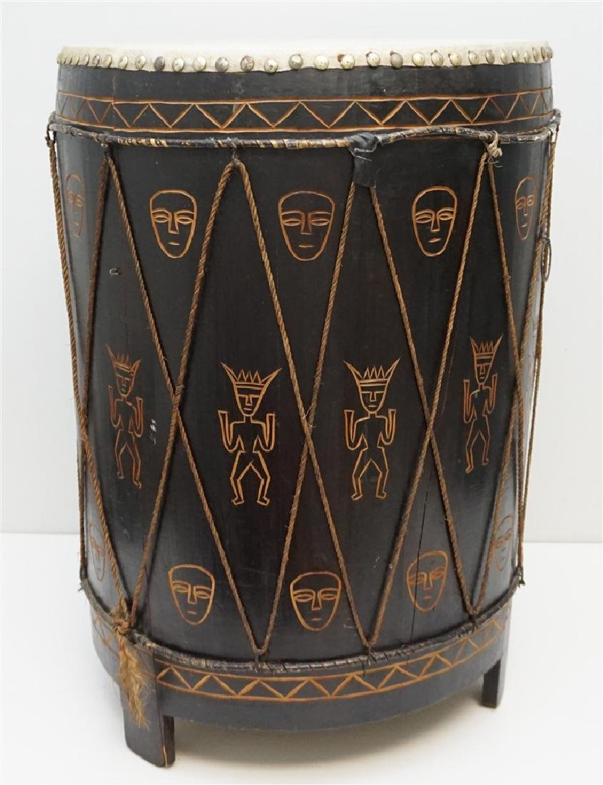 CARVED MID CENTURY AFRICAN DRUM - 7