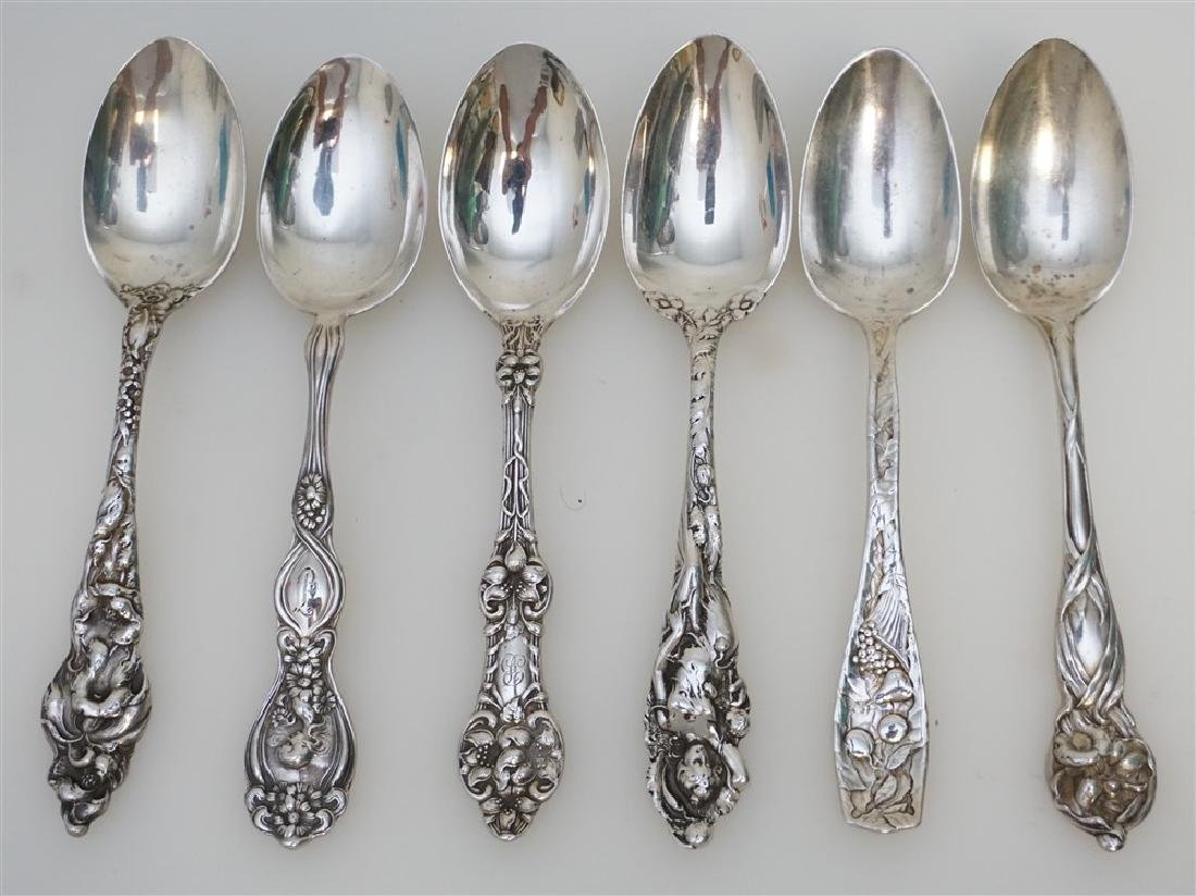 6 STERLING SILVER ANTIQUE TEASPOONS