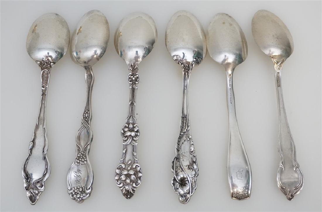 6 STERLING SILVER ANTIQUE TEASPOONS - 4