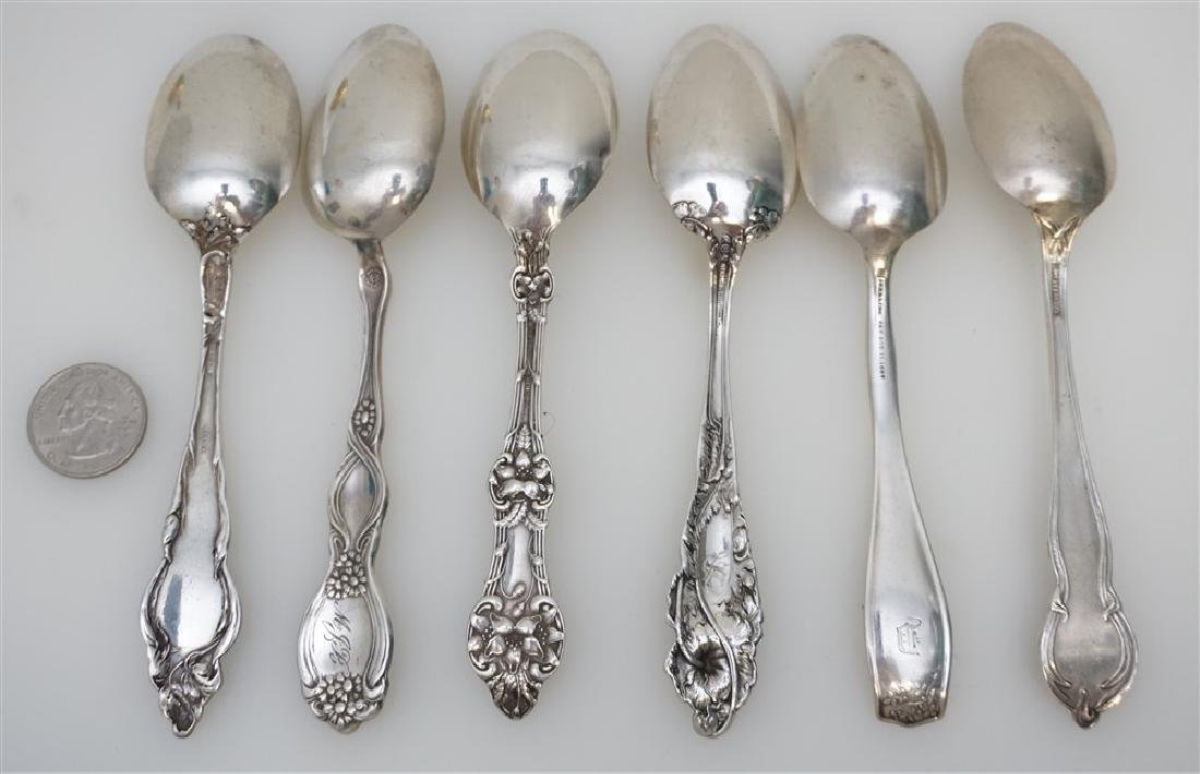 6 STERLING SILVER ANTIQUE TEASPOONS - 7