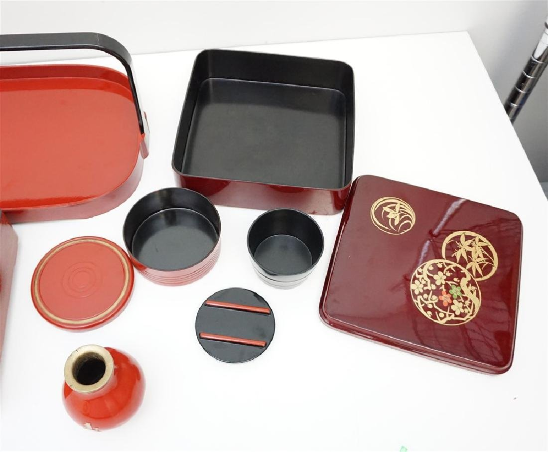 6 PIECE JAPANESE LACQUER WARE - 5
