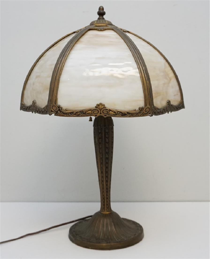 EDWARD MILLER SLAG GLASS LAMP