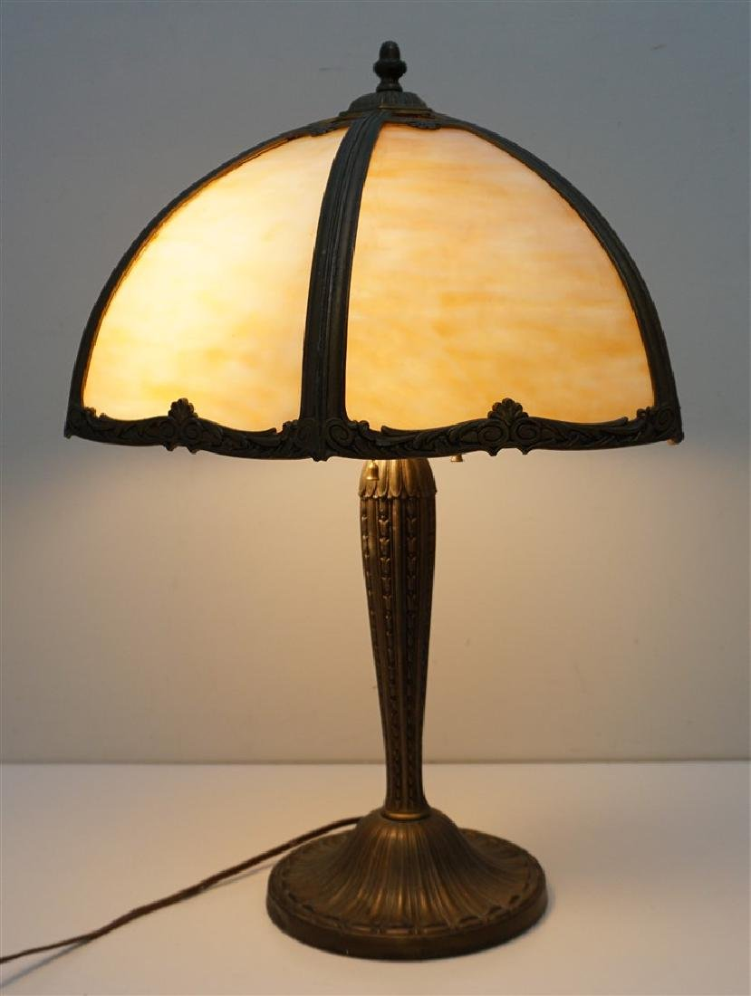 EDWARD MILLER SLAG GLASS LAMP - 2