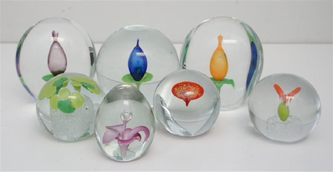 7 BLOWN GLASS PAPERWEIGHT COLLECTION