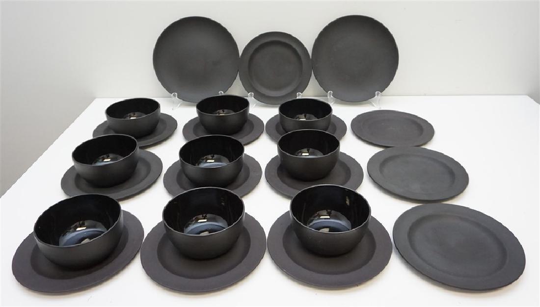 24 BASALT BLACK WEDGWOOD PLATES & BOWLS