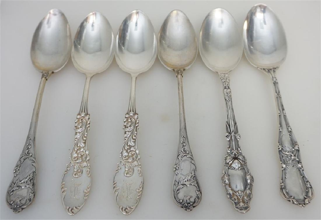 6 ANTIQUE STERLING SOUP SPOONS +