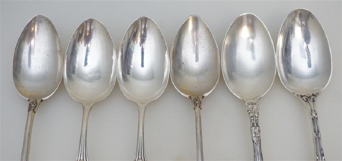 6 ANTIQUE STERLING SOUP SPOONS + - 4