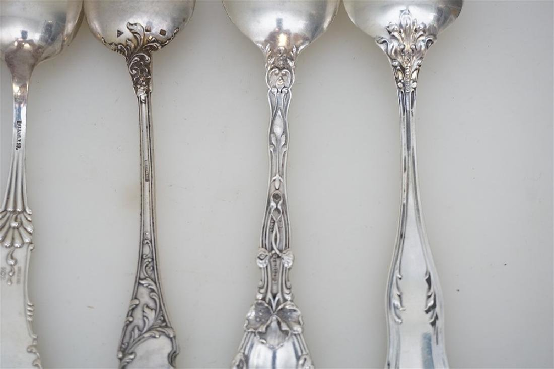 6 ANTIQUE STERLING SOUP SPOONS + - 6
