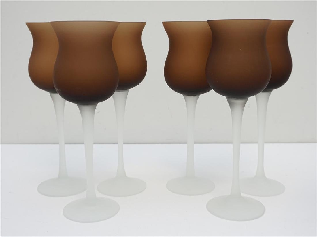 6 FROSTED WINE GLASSES- BROWN