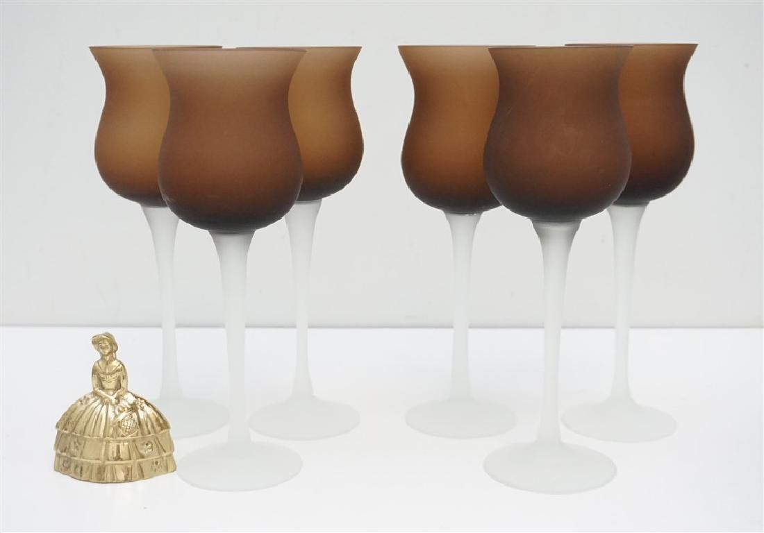 6 FROSTED WINE GLASSES- BROWN - 5