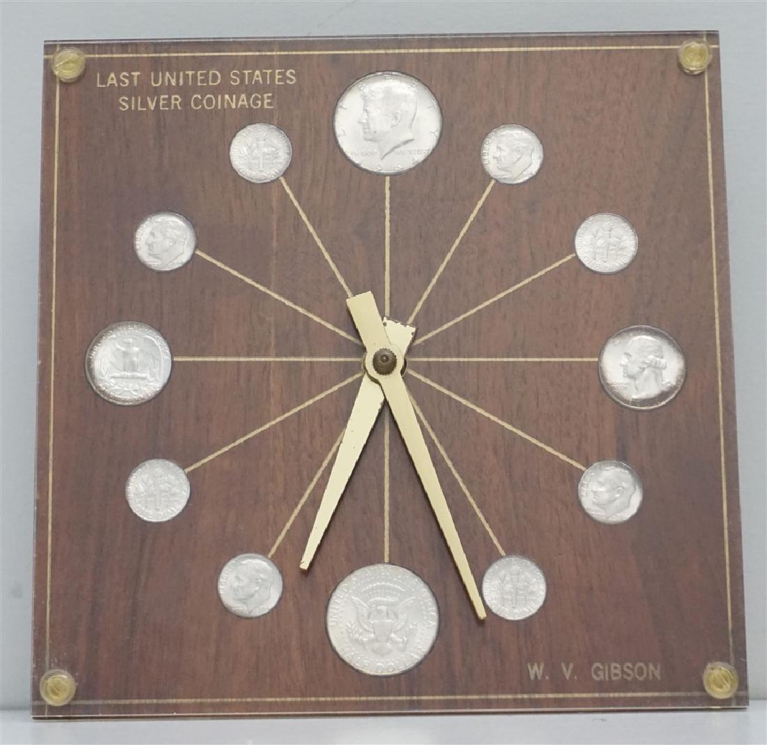 MID CENTURY 1964 SILVER COINS DESK CLOCK