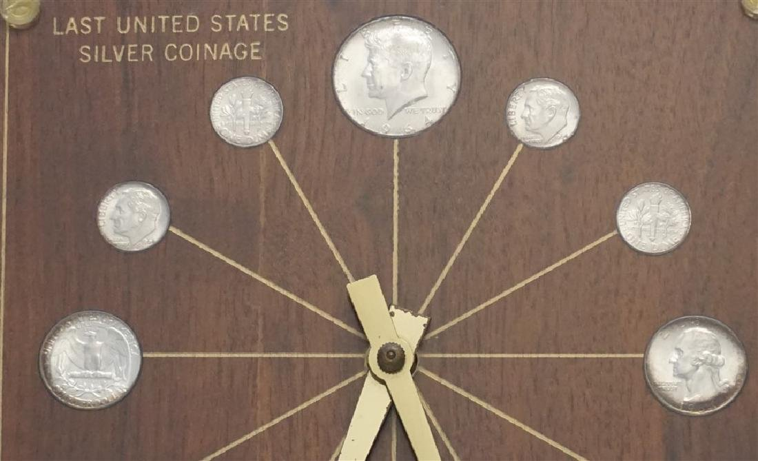 MID CENTURY 1964 SILVER COINS DESK CLOCK - 2