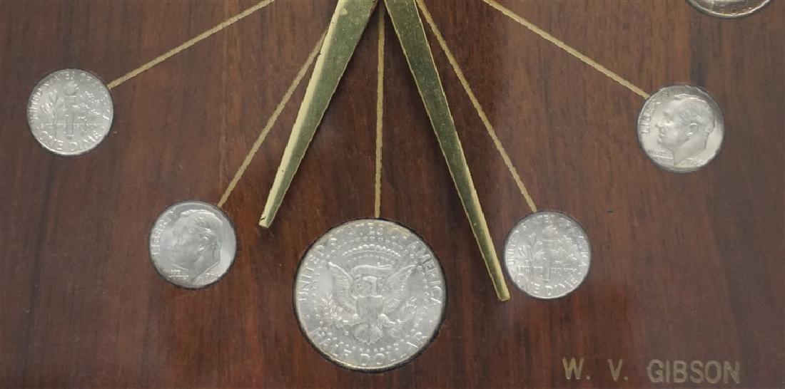 MID CENTURY 1964 SILVER COINS DESK CLOCK - 3