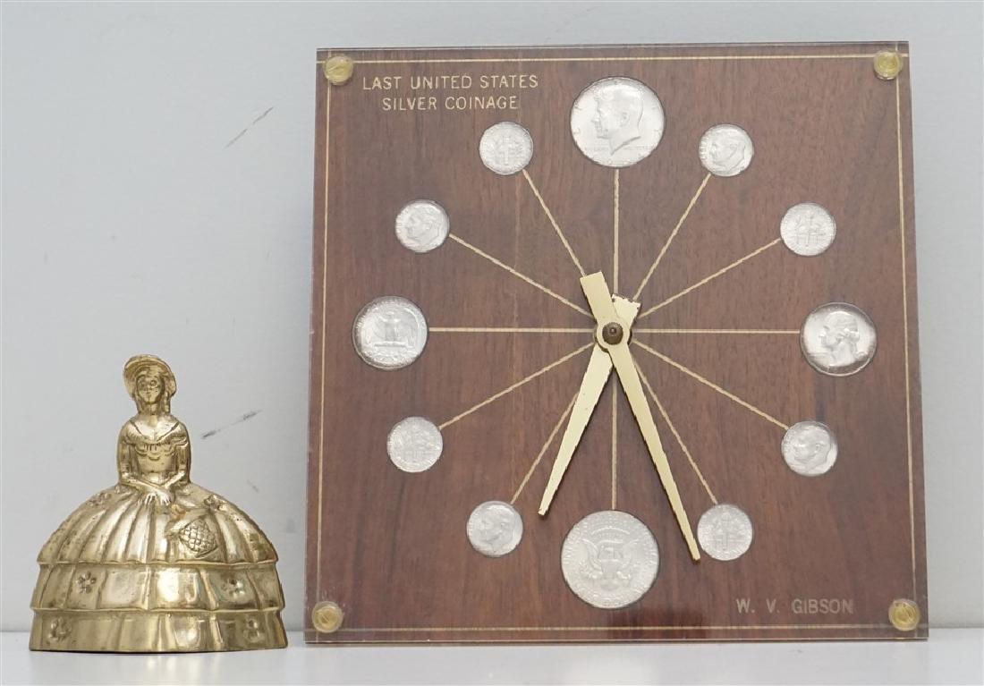 MID CENTURY 1964 SILVER COINS DESK CLOCK - 4
