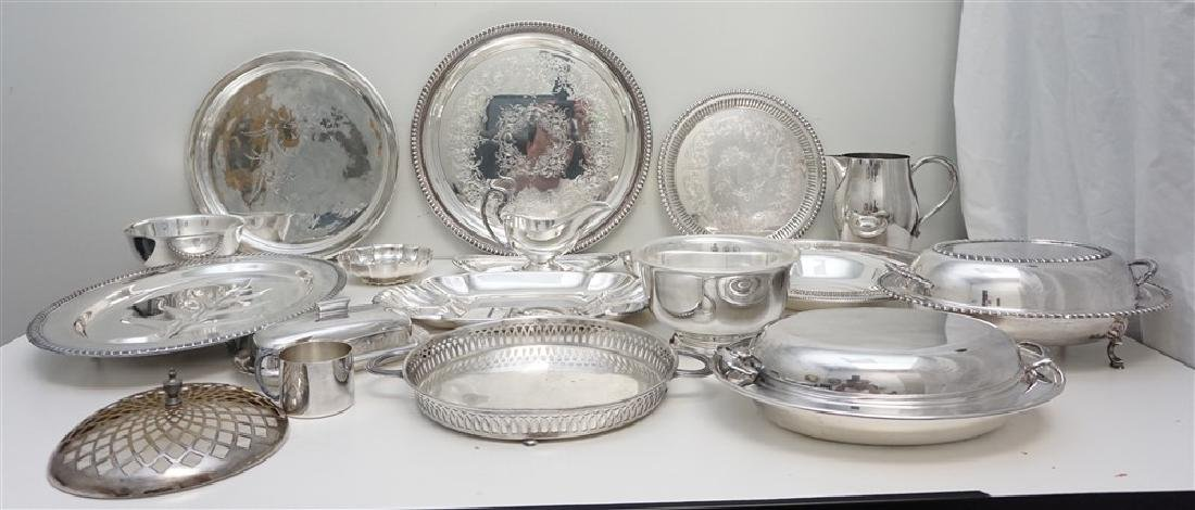 19 pc GOOD SILVER PLATE TRAYS - BOWLS +