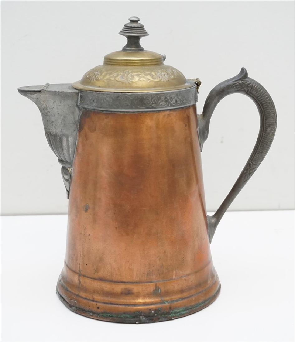 ANTIQUE COPPER & BRASS COFFEE POT