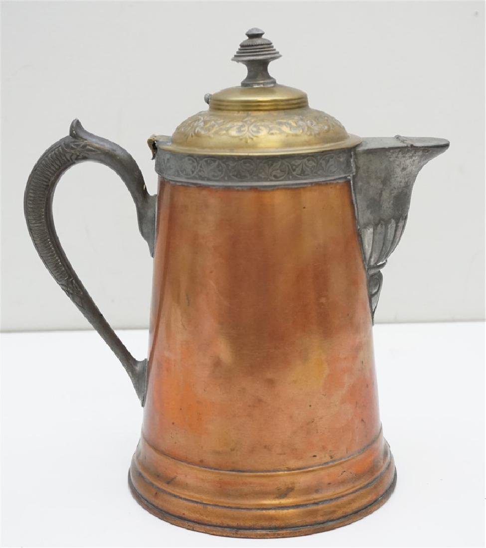 ANTIQUE COPPER & BRASS COFFEE POT - 5