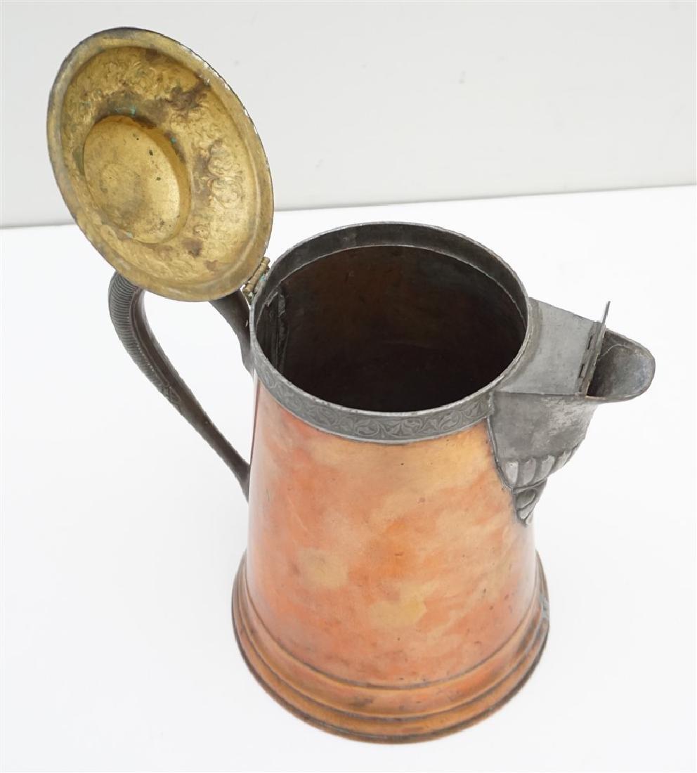 ANTIQUE COPPER & BRASS COFFEE POT - 6