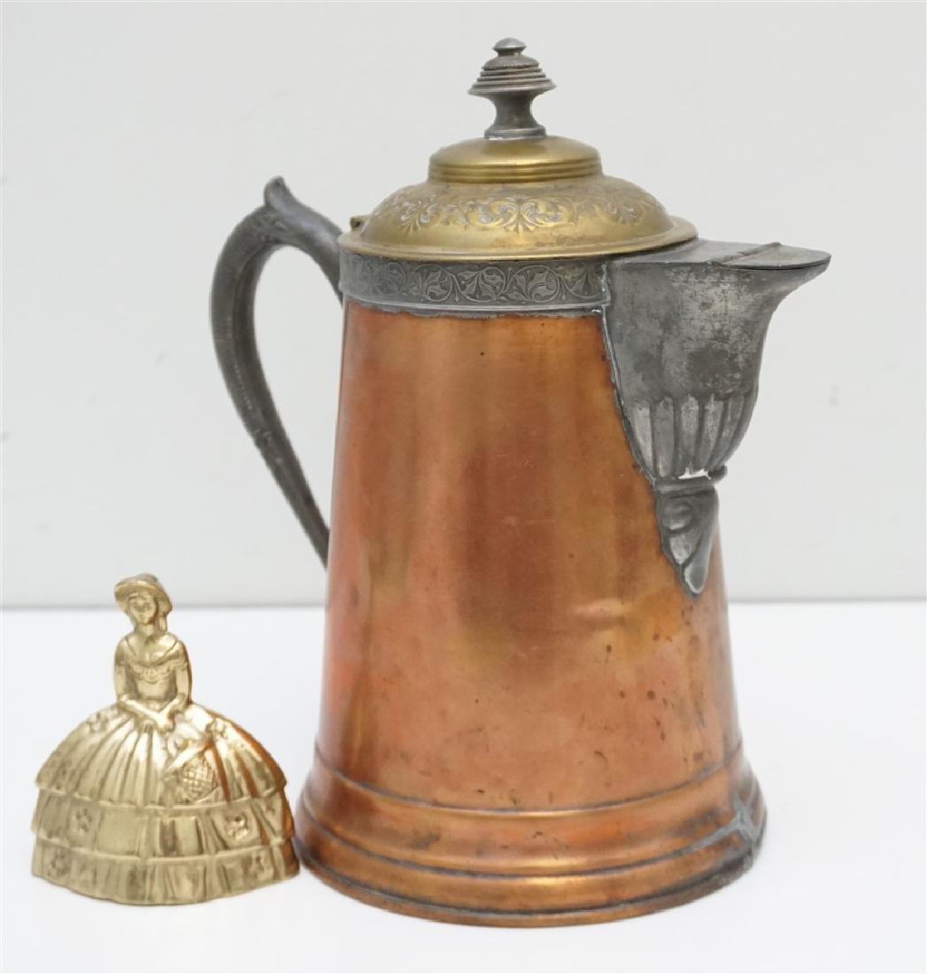 ANTIQUE COPPER & BRASS COFFEE POT - 9