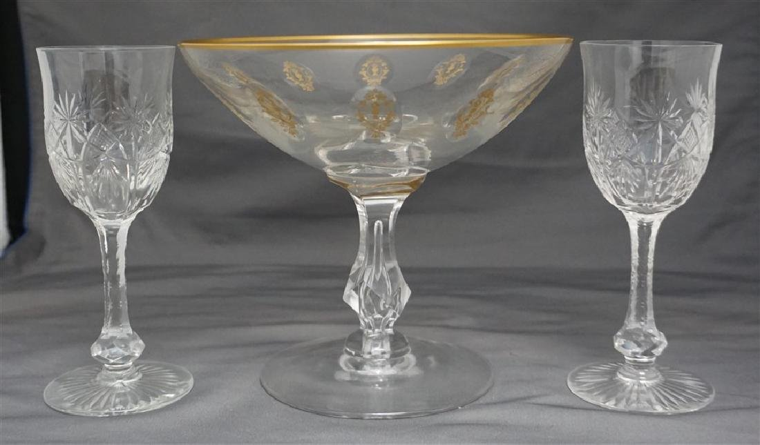 3PC CUT ETCHED COMPOTE & GLASSES