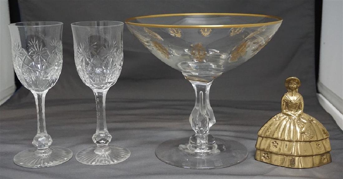 3PC CUT ETCHED COMPOTE & GLASSES - 8