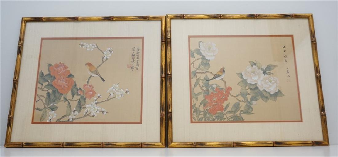 PAIR FRAMED CHINESE SILK PAINTINGS