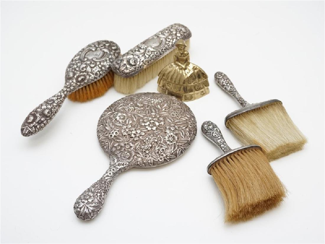5 PC STERLING REPOUSSE VANITY MIRROR - BRUSHES - 10