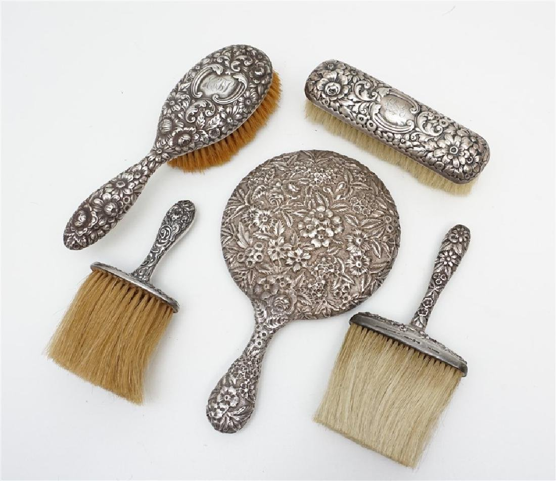 5 PC STERLING REPOUSSE VANITY MIRROR - BRUSHES