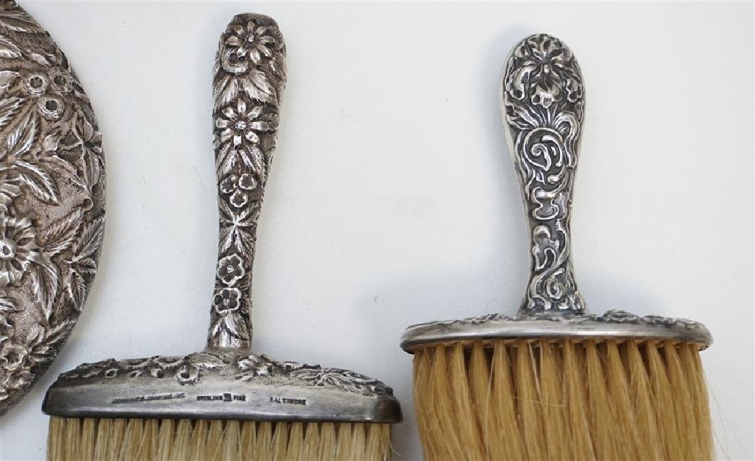 5 PC STERLING REPOUSSE VANITY MIRROR - BRUSHES - 4