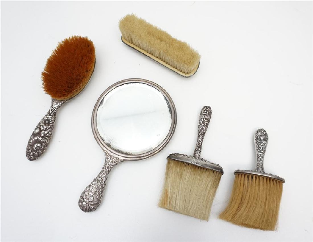 5 PC STERLING REPOUSSE VANITY MIRROR - BRUSHES - 6