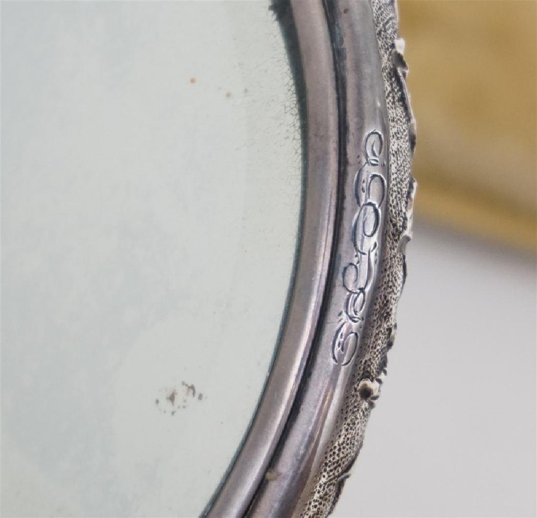 5 PC STERLING REPOUSSE VANITY MIRROR - BRUSHES - 9