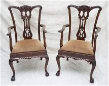 2 MAHOGANY CHIPPENDALE ARM CHAIRS