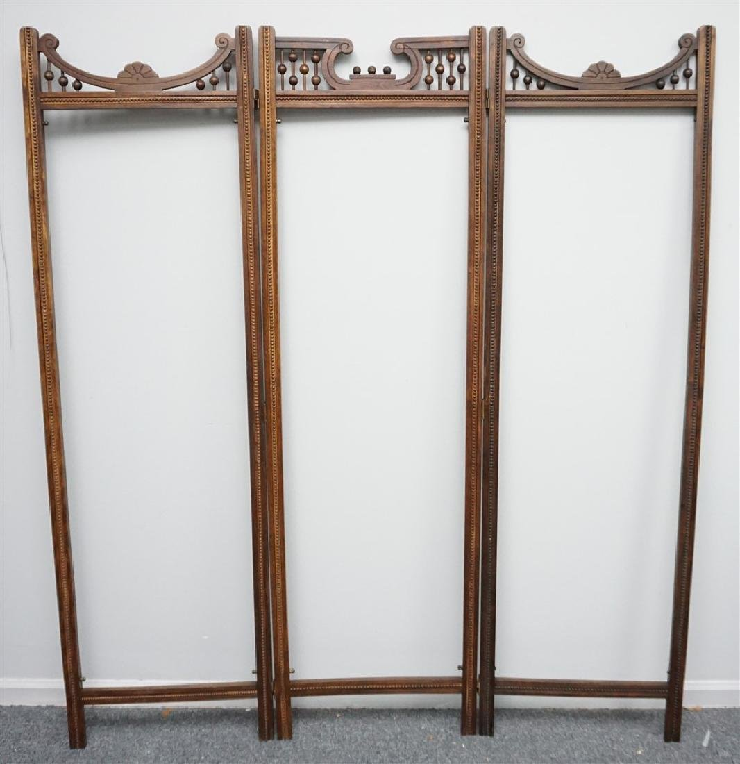 VICTORIAN OAK STICK AND BALL ROOM DIVIDER SCREEN
