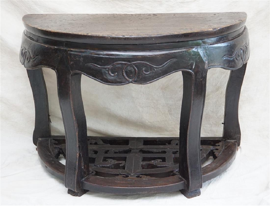 PAIR 18-19th c DEMI- LUNE TABLES, YUEYAZHUO