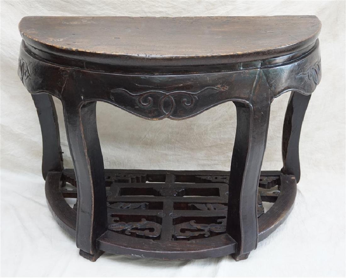 PAIR 18-19th c DEMI- LUNE TABLES, YUEYAZHUO - 2