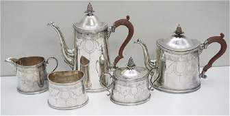 5 pc ENGLISH STERLING SILVER TEA  COFFEE SET