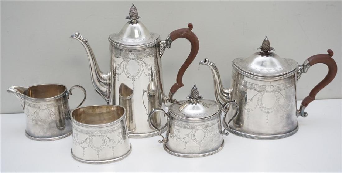 5 pc ENGLISH STERLING SILVER TEA / COFFEE SET