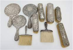 10 pc STERLING REPOUSSE VANITY ITEMS