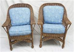 PAIR ANTIQUE WICKER CHAIRS