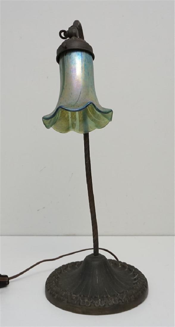 ANTIQUE NON FERROUS METAL LAMP ART GLASS - 4