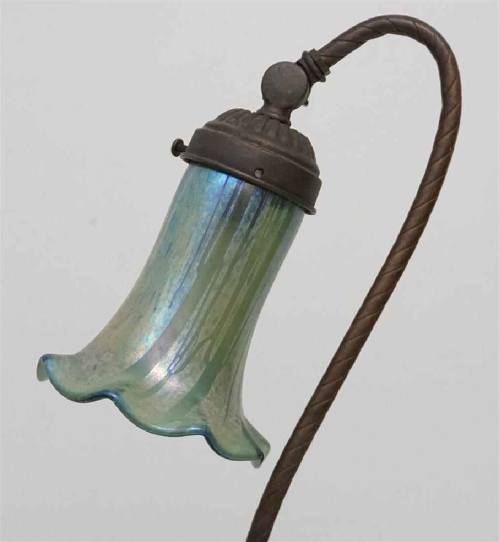 ANTIQUE NON FERROUS METAL LAMP ART GLASS - 6
