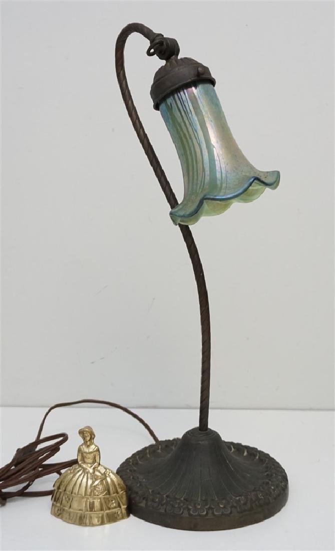 ANTIQUE NON FERROUS METAL LAMP ART GLASS - 7