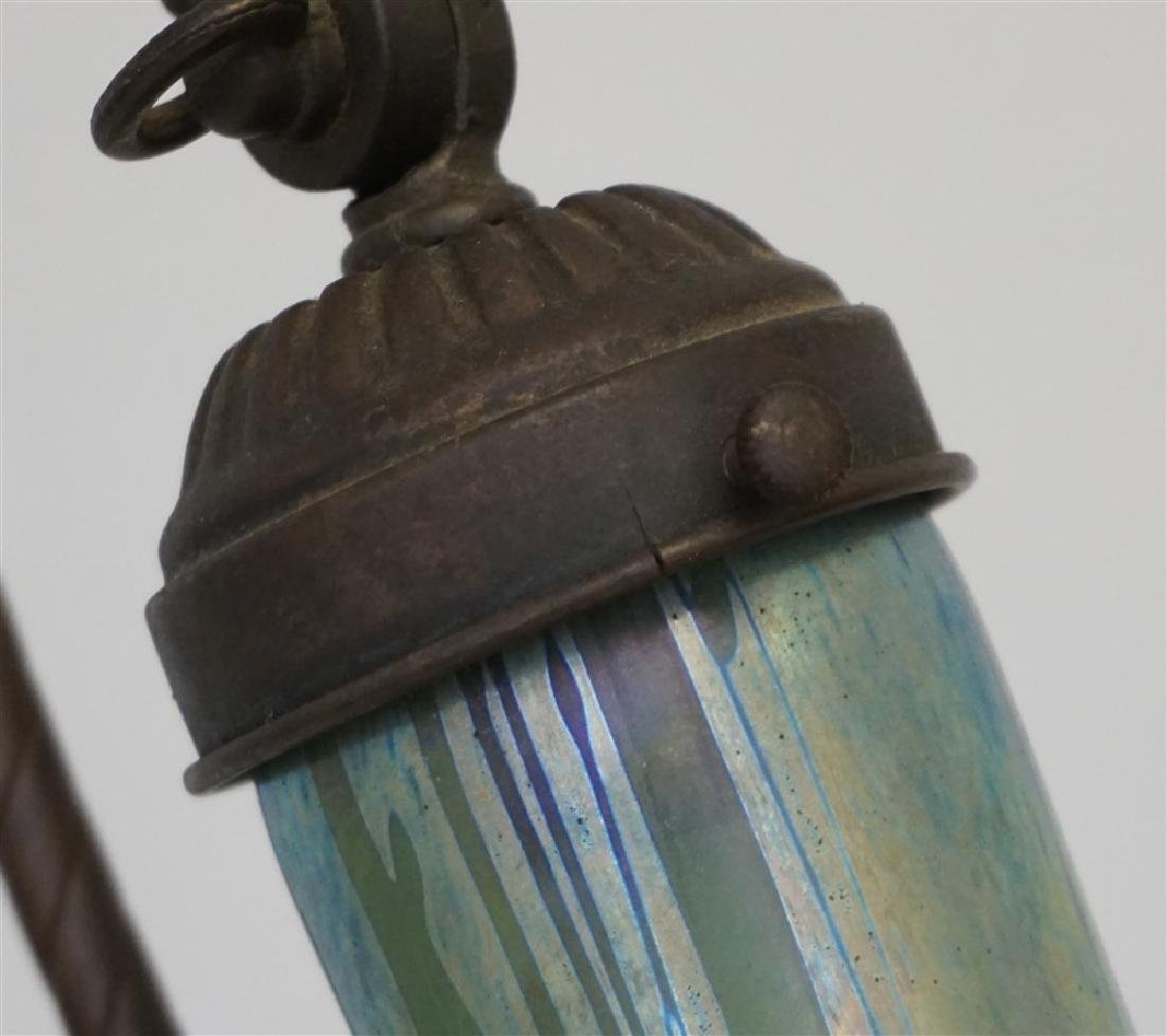 ANTIQUE NON FERROUS METAL LAMP ART GLASS - 8