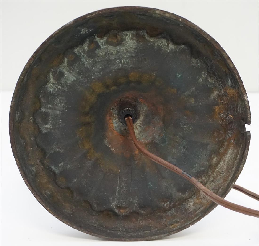 ANTIQUE NON FERROUS METAL LAMP ART GLASS - 9